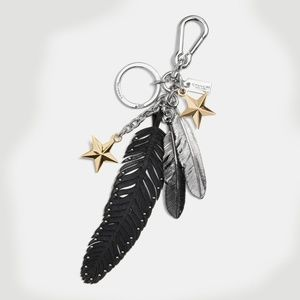 MIXED FEATHERS AND STARS BAG CHARM Key Fob * 64128